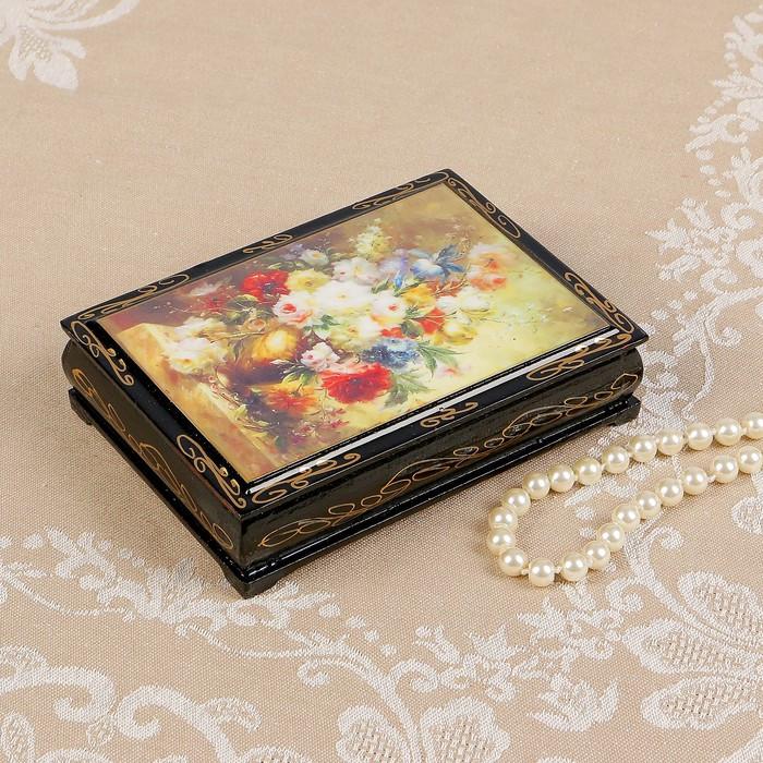Шкатулка «Букет цветов», 10×14 см, лаковая миниатюра