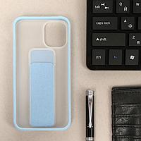 Чехол LuazON для iPhone 12 mini, с ремешком-подставкой, пластиковый, голубой