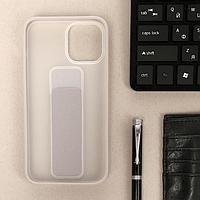 Чехол LuazON для iPhone 12 Pro Max, с ремешком-подставкой, пластиковый, серый