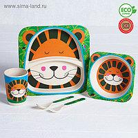 Набор детской посуды из бамбука «Джунгли», 5 предметов: тарелка, миска, стакан, столовые приборы