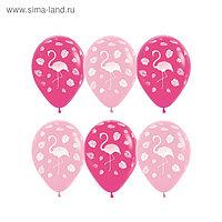 """Шар латексный 12"""" «Фламинго и листья», пастель, 5-сторонний, набор 50 шт., цвет розовый"""