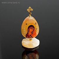 Яйцо «Богоматерь Казанская», на подставке, 5×11 см, селенит