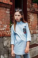 Детская для девочек осенняя хлопковая голубая деловая блуза Elod 079071 158-80р.
