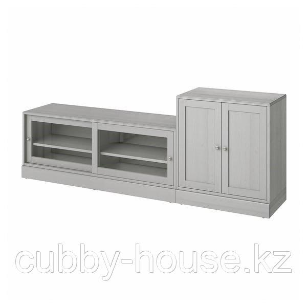 ХАВСТА Шкаф для ТВ, комбинация, серый, 241x47x89 см