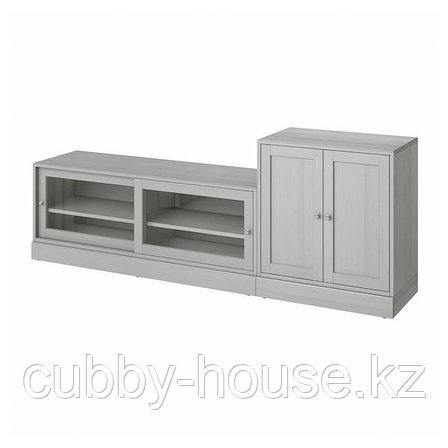ХАВСТА Шкаф для ТВ, комбинация, серый, 241x47x89 см, фото 2