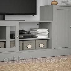 ХАВСТА Шкаф для ТВ, комбинация, серый, 241x47x89 см, фото 3