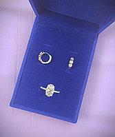 Бриллиантовое искушение, серьги и кольцо, серебро