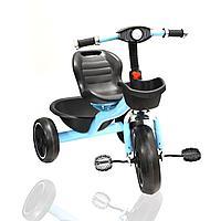 Трехколесный детский велосипед с Led фонариком и музыкальными эффектами с корзинками голубой