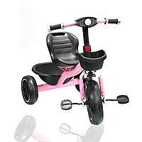 Трехколесный детский велосипед с Led фонариком и музыкальными эффектами с корзинками розовый