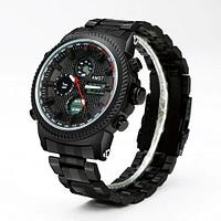 Часы наручные ударопрочные + водонепроницаемые AMST Military 3003 в армейском стиле (Вороненая сталь)