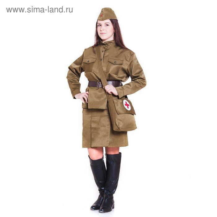 Костюм военный «Санитарочка», пилотка, гимнастёрка, ремень, юбка, сумка, р. 48-50, рост 170 см - фото 1