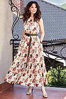 Женское летнее шифоновое большого размера платье Teffi Style L-1566 цветы_на_молочном 48р.