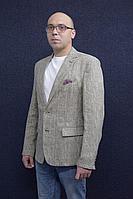 Мужская летняя льняная бежевая деловая большого размера пиджак DOMINION 4430D 8C34-P49 182 светло-бежевый 50р.