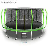 Батут EVO JUMP Cosmo, d=488 см, с внутренней защитной сеткой и лестницей, цвет зелёный