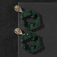 """Серьги ассорти """"Натурэль"""" круг, цвет тёмно-зелёный в золоте"""
