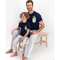 Пижама детская мальчик 6-7 лет / 116-122 см, Тёмно- синий