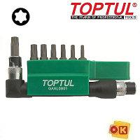 """Набор бит """"TORX"""" вороток +7 бит Т10-Т40 (с отверстием) TOPTUL (GAAL0801)"""