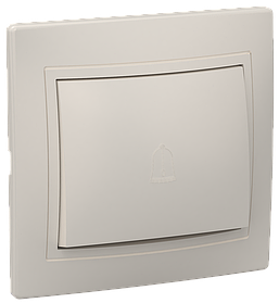 Выключатель ВСп 10-1-0-ККм одноклавишный проходной 10А КВАРТА (кремовый) ИЭК