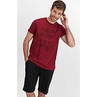 Пижама мужская M / 46-48, Бордовый меланж