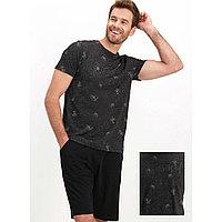 Пижама мужская XL / 50-52, Чёрный меланж