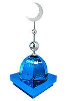 "Купол на мазар ""ШАХ"". Синий с орнаментом и плоским полумесяцем d-230 серебро с 2-мя шарами. 39,5 х 39,5 см."