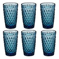 Набор стаканов 6 шт..,цвет с рельеф декором,H12.8*D8*B6.5 см.,асс. цветов (12шт) 171273 ( (Олимпик)