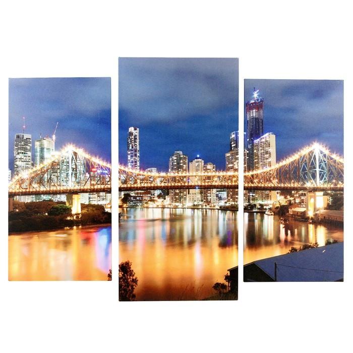 """Модульная картина """"Мост в огнях"""" (2-25х50, 30х60 см)  60х80 см"""