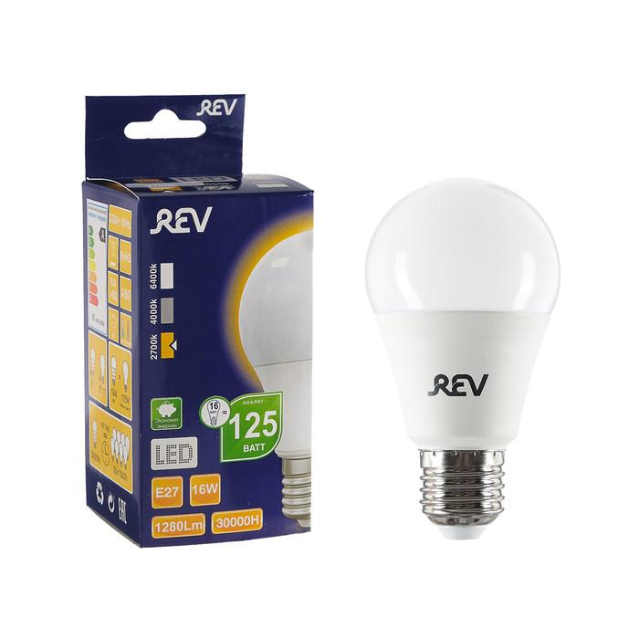 Лампа светодиодная REV LED, A60, 16 Вт, Е27, 2700 K, тёплый свет