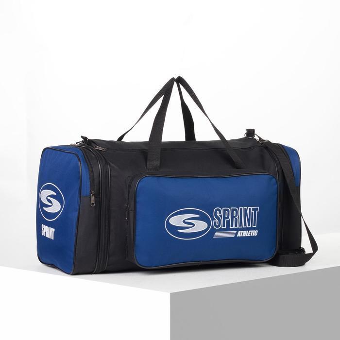 Сумка спортивная, отдел на молнии, с увеличением, наружный карман, длинный ремень, цвет чёрный/синий