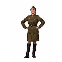 Карнавальный костюм «Солдатка 2», гимнастёрка, юбка, ремень, пилотка, р. 44