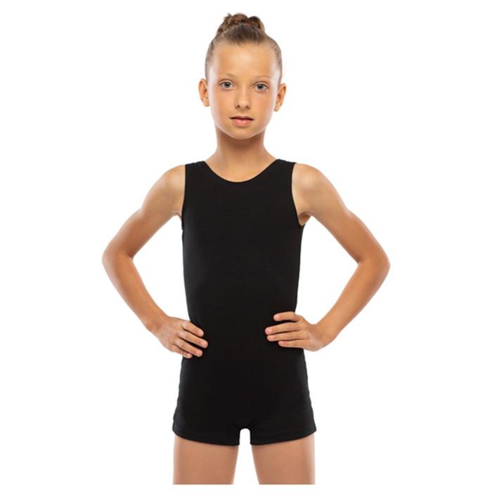 Комбинезон гимнастический укороченный х/б без рукавов, цвет чёрный, размер 40