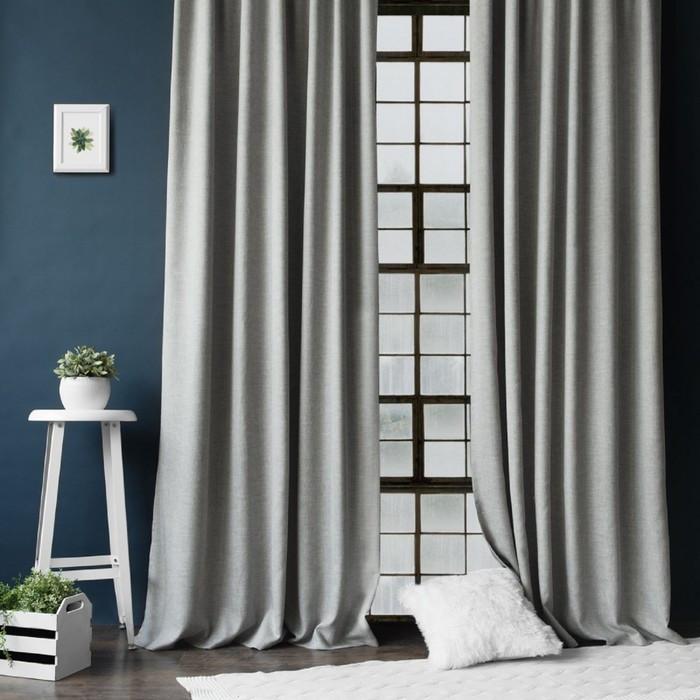 Комплект штор «Конни», размер 140 х 270 см - 2 шт, подхват - 2 шт, цвет серый