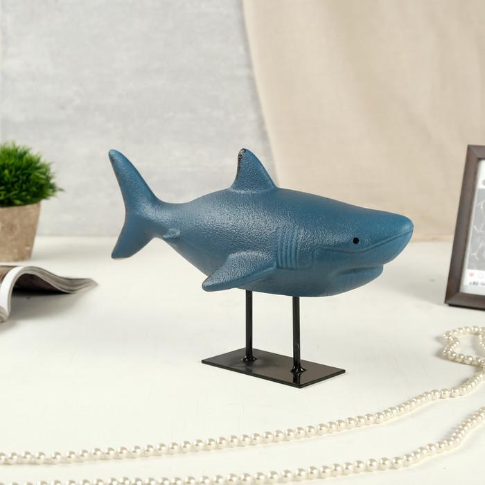 "Сувенир керамика ""Акула"" синий матовый 20х32х15 см"