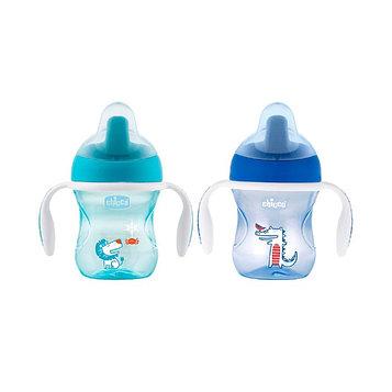 Чашка-поильник Chicco Training Cup, от 6 месяцев, цвет синий, рисунок МИКС, 200 мл