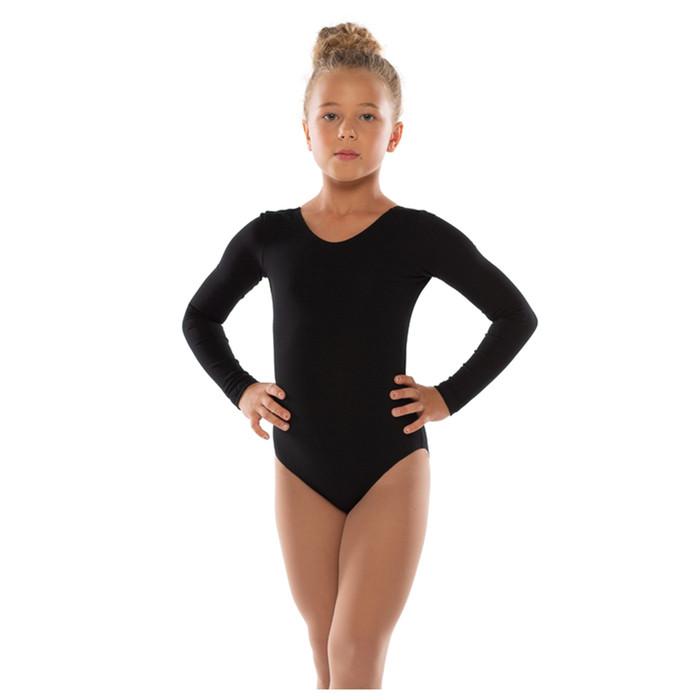 Костюм гимнастический х/б, цвет чёрный, размер 30