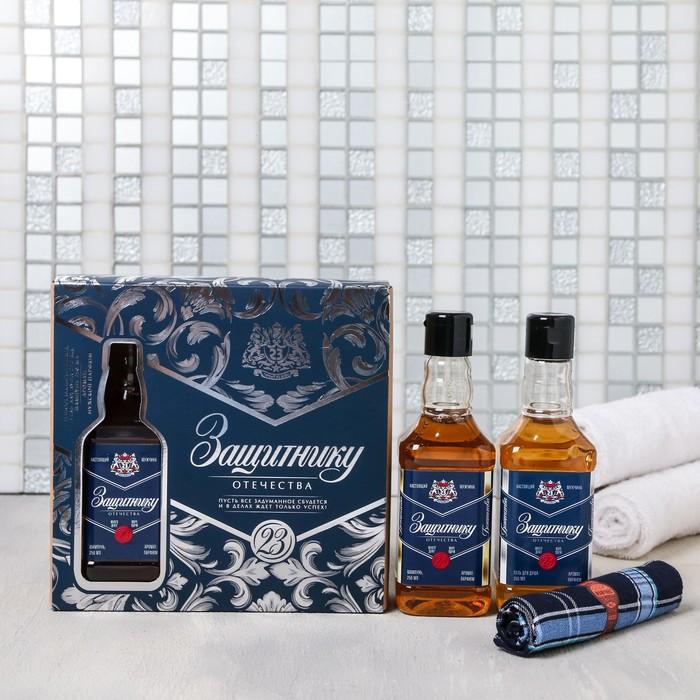 """Набор """"Защитнику Отечества"""" гель и шампунь 250 мл аромат мужского парфюма, платок-сигара"""