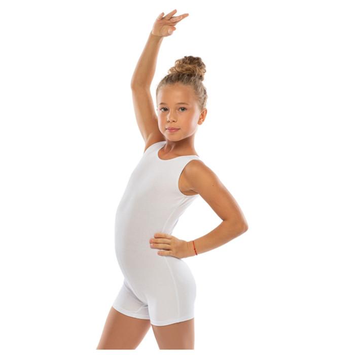 Комбинезон гимнастический укороченный х/б без рукавов, цвет белый, размер 26