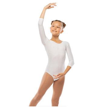Костюм гимнастический п/э, цвет белый, размер 38