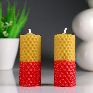 """Набор свечей из вощины """"Классика"""" медово- красные, Н= 8 см, 2 шт"""