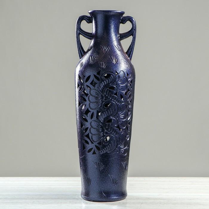 """Ваза напольная """"Ксения"""", антика, хром, синяя, 72 см, керамика"""