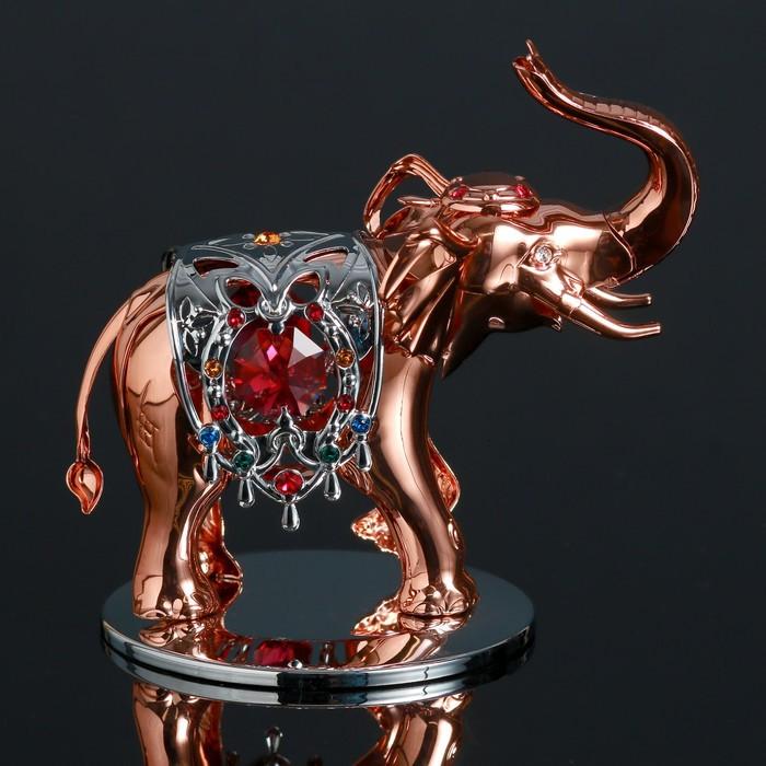 """Сувенир с кристаллами Swarovski """"Роскошный слон"""" 9,6х6,6 см"""