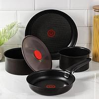 Набор посуды, 5 предметов: сковороды d=22 см, d=28 см, ковши d=16 см, d=18 см, силиконовая крышка d=23 см,