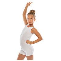 Комбинезон гимнастический укороченный х/б без рукавов, цвет белый, размер 32
