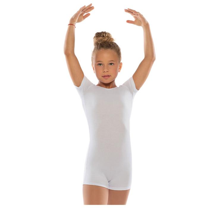 Комбинезон гимнастический укороченный х/б с короткими рукавами, цвет белый, размер 44