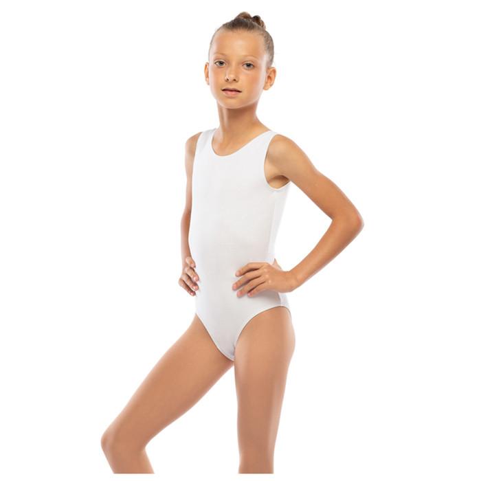Костюм гимнастический х/б, цвет белый, размер 34