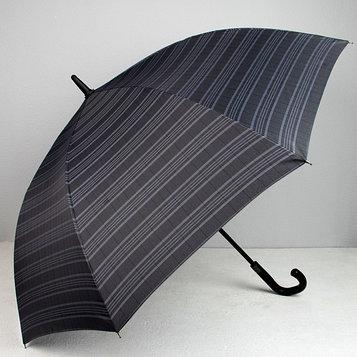 Зонт - трость полуавтоматический «Полоска», 8 спиц, R = 60, цвет чёрный/серый