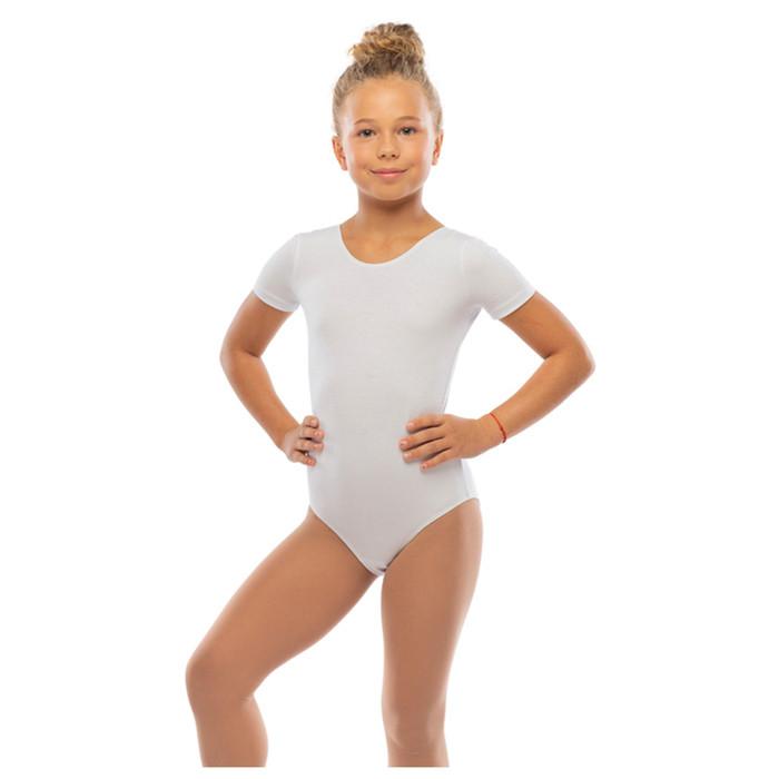Костюм гимнастический х/б, цвет белый, размер 32