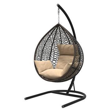 Подвесное кресло «Бароло», капля, цвет коричневый, подушка бежевая, стойка