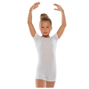 Комбинезон гимнастический укороченный х/б с короткими рукавами, цвет белый, размер 36