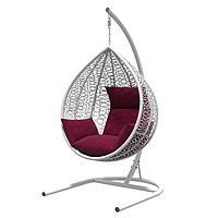 Подвесное кресло «Бароло», капля, цвет белый, подушка бордо, стойка